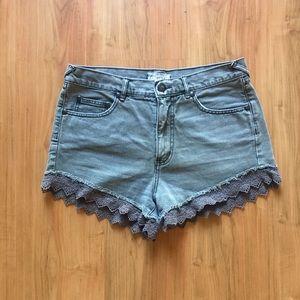 Free People Grey Lace Trim Hem Jean Shorts Size 28